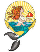 Mermaid-ala-pin-up — Stock Vector