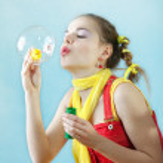 Beautiful girl and bubble — Stock Photo #2554988