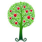 Green apple tree — Stock Vector