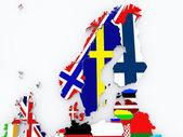 İskandinavya haritası. — Stok fotoğraf