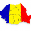 Stock Photo: Three-dimensional map of Romania.