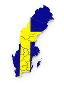 Three-dimensional map of Sweden. — Stock Photo