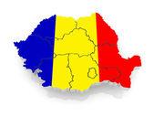 Three-dimensional map of Romania. — Stock Photo