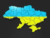 Three-dimensional map of Ukraine — Stock Photo