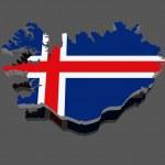 冰岛的地图 — 图库照片