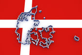 Three-dimensional map of Denmark. — Stock Photo