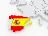 Karta över europa och spanien. — Stockfoto