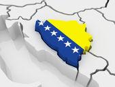Karta över europa och bosnien och hercegovina. — Stockfoto