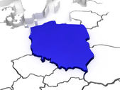 Map of Europe and Poland. — Stock Photo