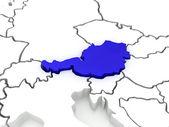 Karta över europa och österrike. — Stockfoto