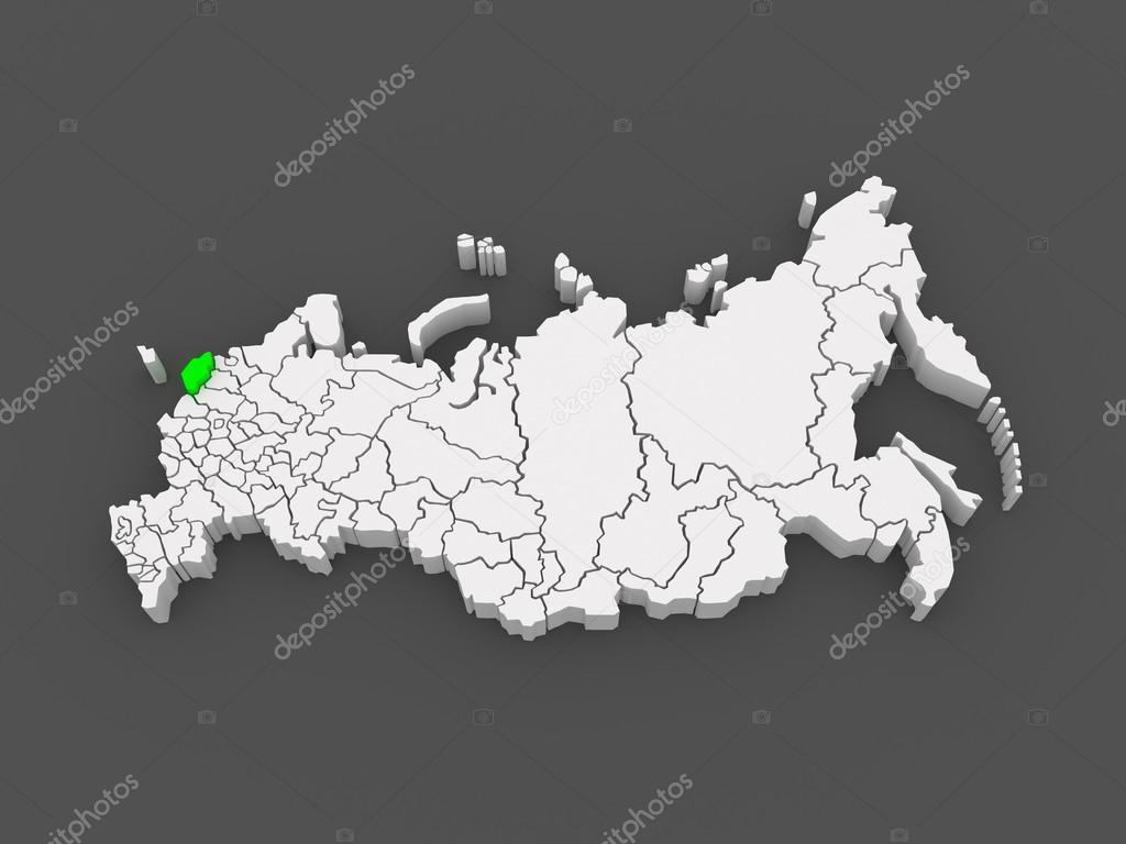 俄罗斯联邦的地图.普斯科夫州.3d– 图库图片