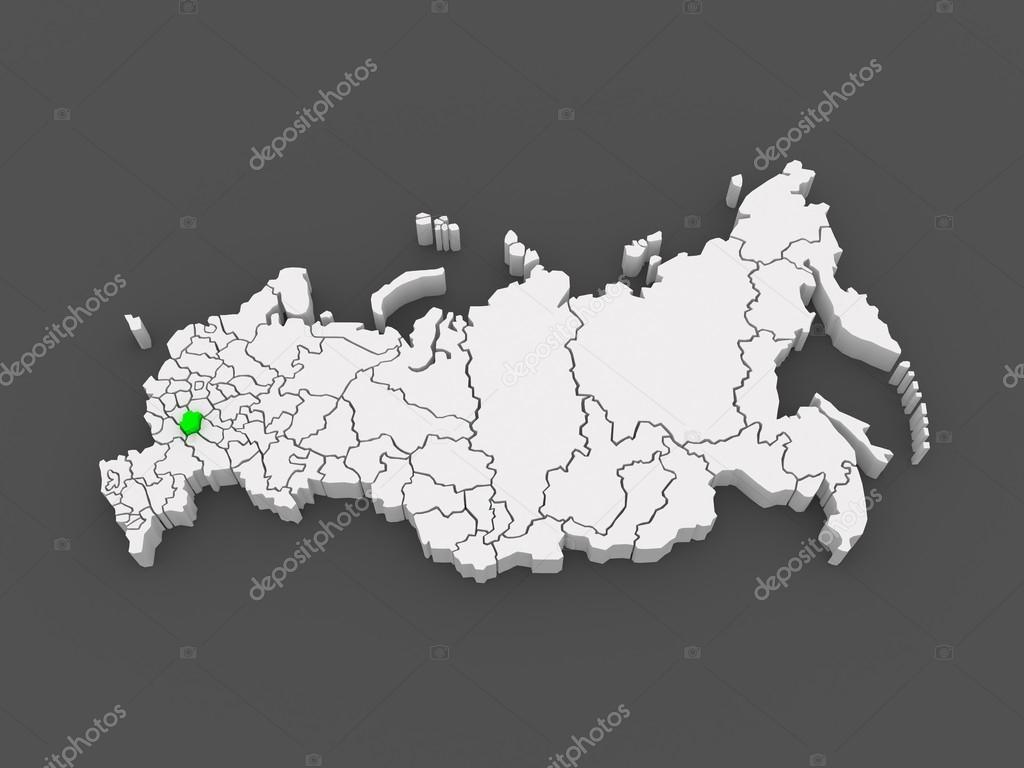俄罗斯联邦的地图.坦波夫州.3d– 图库图片