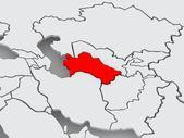Map of worlds. Turkmenistan. — Foto de Stock