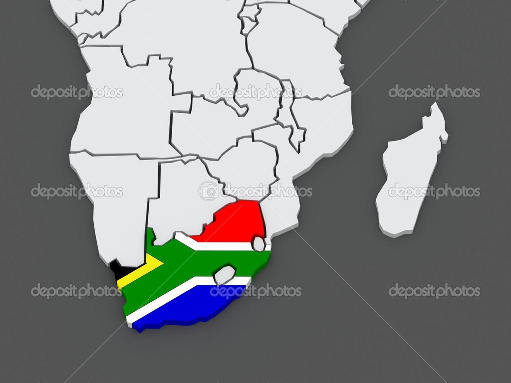 世界地图.南非.3d– 图库图片