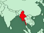 Map of worlds. Myanmar (Burma). — Stock Photo