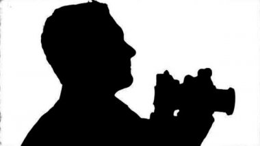 Photographer Silhouette close-up - black on white — Wideo stockowe