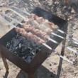 Beef kababs on the grill — Stock Video