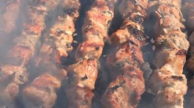 Beef kababs on the grill — Stock Video #13620516