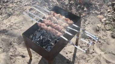 Beef kababs on the grill — Stock Video #13620534