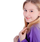 Cute little girl smiling over white — Stock Photo