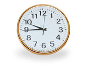 Retro wall clock over white — Stock Photo