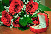 Wedding Ring and Red Rose — Stock Photo