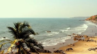 India Goa Vagator beach February 20, 2013. Seaside panorama view — Stock Video