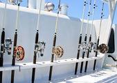 Spinning stavar är en fixtur på båten innan fisket — Stockfoto