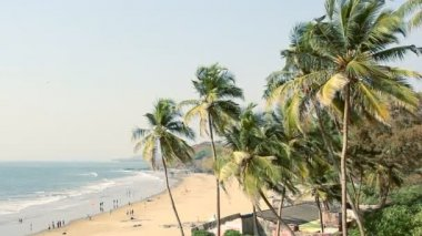 India Goa Vagator beach February 20, 2013. Seaside panorama view — Stock Video
