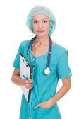 医生女人与听诊器和剪贴板 — 图库照片