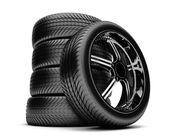 Neumáticos 3d aislados sobre fondo blanco — Foto de Stock