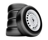 3d pneumatiky izolovaných na bílém pozadí s bez stínu — Stock fotografie