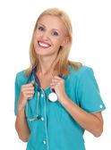 Giovane bella medico con stetoscopio isolato su bianco — Foto Stock