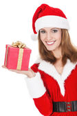 Beautiful young woman with Christmas present — Stock Photo