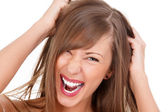 Screaming woman — Stockfoto