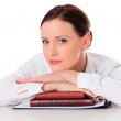Business woman with notebooks — Stock Photo