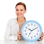 mujer con un reloj — Foto de Stock