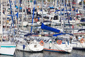 White yachts on an anchor in harbor — Foto Stock