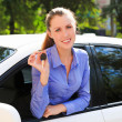 The happy girl showing the key of her new car — Stock Photo #27279137