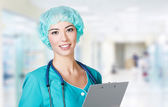 Woman doctor in a hospital — Stock Photo