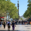 People walk by at the famous La Rambla, Barcelona, Spain — Stock Photo