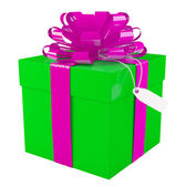 Big green gift box with a big purple bow, white background — Foto de Stock