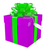 Big purple gift box with a big green bow, white background — Stock Photo