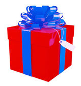Big red gift box with a big blue bow, white background — 图库照片