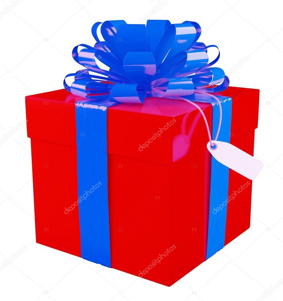 Caja de regalo roja grande con un fondo de gran lazo azul blanco fotos de stock 34056909 - Lazos grandes para regalos ...