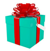 Big green gift box with a big red bow, white background, copyspa — Stock fotografie
