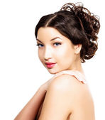 Pretty girl, white background, copyspace — Stock Photo