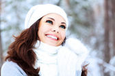 Happy girl in a forest — Stock Photo