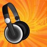 Black headphones on grunge background — Stock Vector #4664514