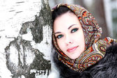 Pretty girl in shawl — Stock fotografie